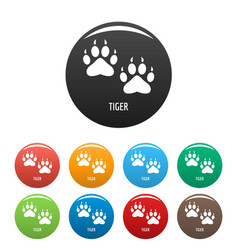 Tiger step icons set color vector