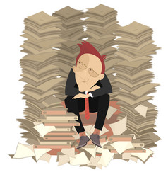 Too much documents and businessman vector