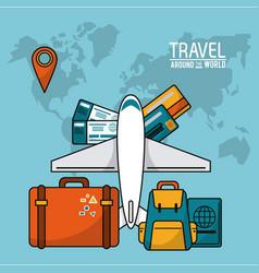 Travel around the world airplane luggage passport vector