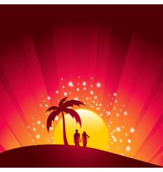 tropical sunset couple vector image