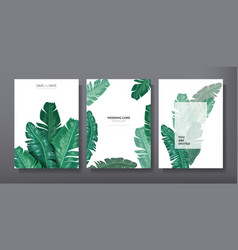 tropical trendy greeting invitation card template vector image