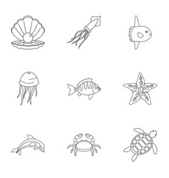 underwater animal stickers icons set vector image