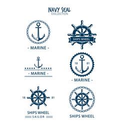 variety retro navy seals vector image