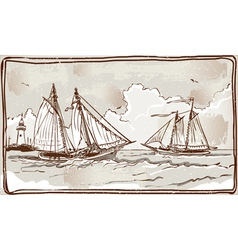 Vintage View of Sailing Ships on the Sea vector image