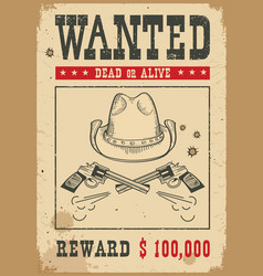 wanted poster western with guns and vector image