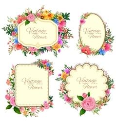 Watercolor Vintage floral frame vector image
