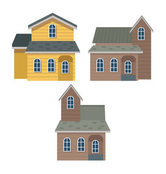 white background of set collection facade houses vector image
