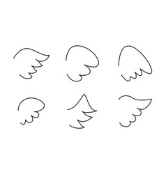 wings collection set with angel or bird wing icon vector image