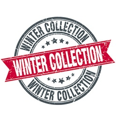 Winter collection red round grunge vintage ribbon vector