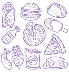 doodle of food element various vector image vector image