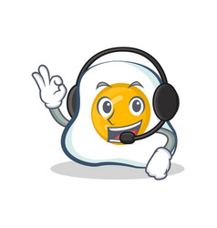 fried egg character cartoon with headphone vector image vector image