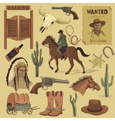 Hand drawn Wild West icons set vector image vector image