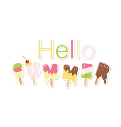 hello summer ice cream letters isolated on white vector image vector image