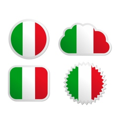 Italy flag labels vector image vector image