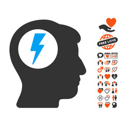 brain electric shock icon with dating bonus vector image vector image