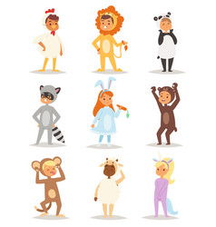 children wearing fancy dress costumes animals vector image