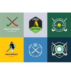 Field hockey logo set sport badges with vector image