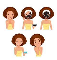 Girl Mask Face Tan vector image vector image