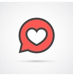 Heart in speech bubble stroke icon vector image