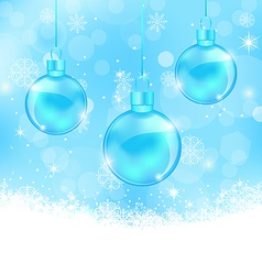 Winter background with Christmas balls and vector image