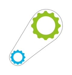 gears with chain isolated icon design vector image