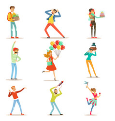happy people celebrating giving gifts and having vector image vector image