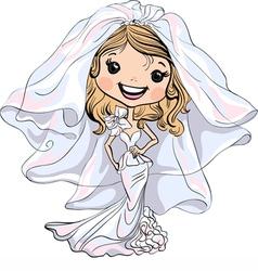 Beautiful fashionable happy girl bride vector image vector image