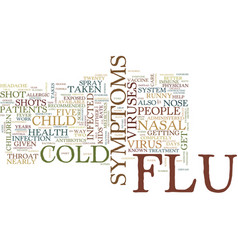 Flu and cold in children text background word vector