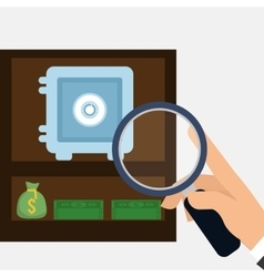 Hand holding search safe box money bag vector