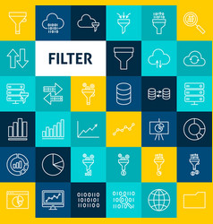 line filter icons vector image