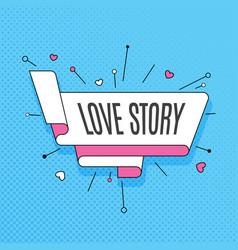 love story retro design element in pop art style vector image