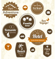 Retro travel labels vector image