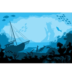 Sea underwater world with different animals vector image vector image