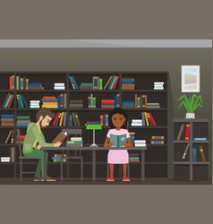students reading textbook in library flat vector image