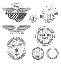 Vintage craft beer brewery design elements vector image vector image