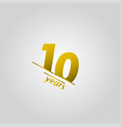 10 years anniversary celebration gold line vector