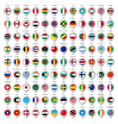 108 Map gray marker with flags Big set vector
