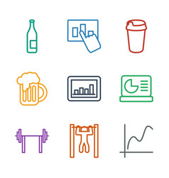 9 bar icons vector