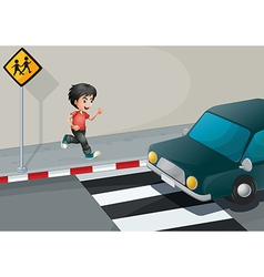 A boy at the street waiting for the car vector