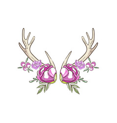 Antlers with pink roses and berries hand drawn vector