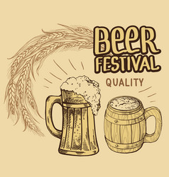 beer barrel hops mug bottle glass vector image