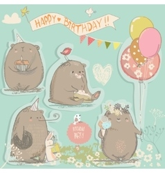 birthday set with cute bears vector image