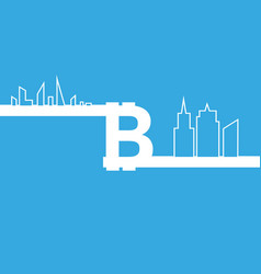 bitcoin sign icon and line city for internet money vector image
