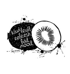 Black and white of isolated kiwi fruit silhouette vector image