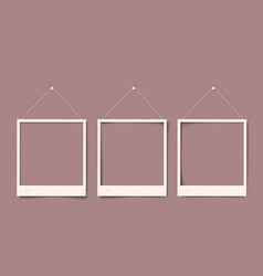 Blank white realistic paper old photo frames with vector