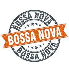Bossa nova round orange grungy vintage isolated vector