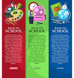 Bright banners back to school with schoolbag globe vector image