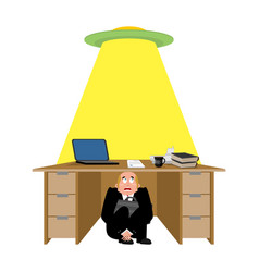 businessman scared under table of ufo frightened vector image
