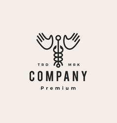 caduceus hand wing hipster vintage logo icon vector image