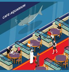 Cafe aquarium isometric composition vector